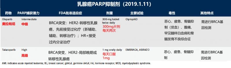 乳腺癌PARP抑制剂