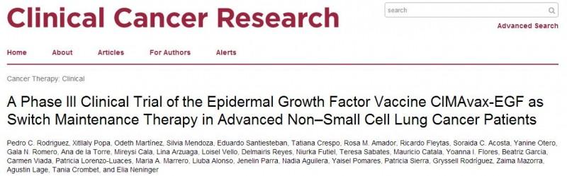 国际著名期刊CCR的一项随机的Ⅲ期临床试验