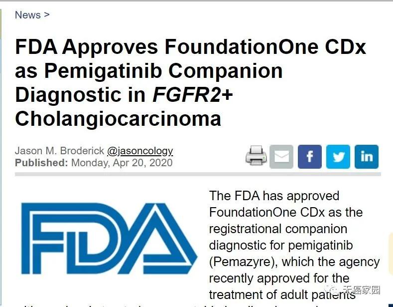 FDA批准Foundatio<em></em>nOne CDx作为伴随诊断
