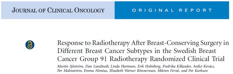 乳腺癌组(SweBCG91-RT trial)放疗的随机临床研究