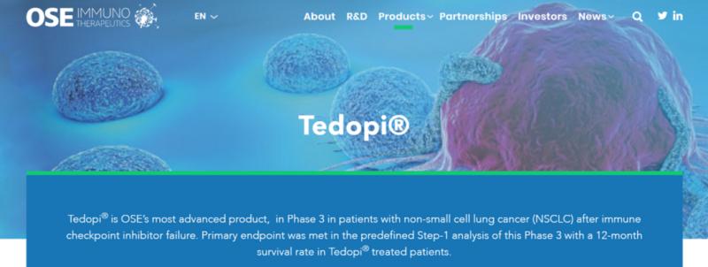 新型肺癌疫苗Tedopi