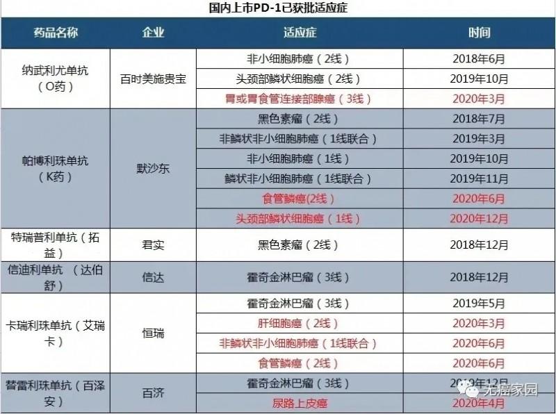 中国国内上市PD-1已获批适应症
