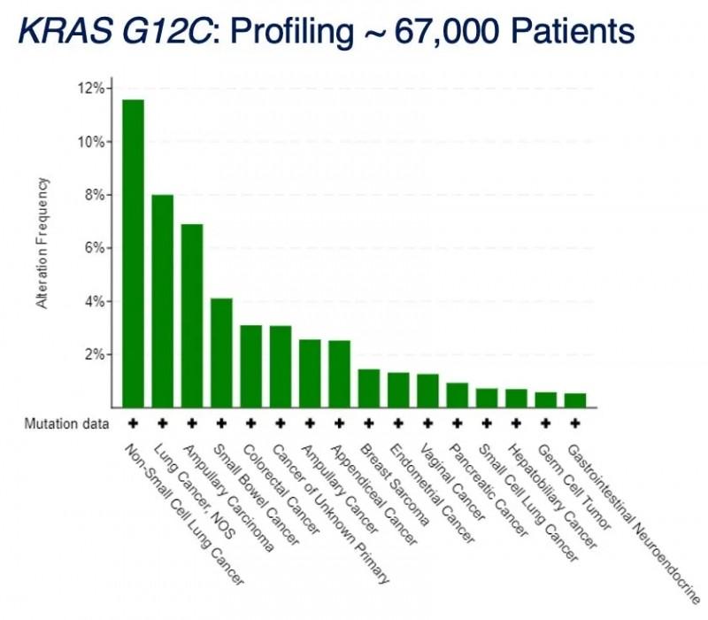 KRAS G12C在各类癌症中的突变频率