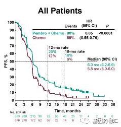 派姆单抗治疗食管癌所有患者中位无进展生存期对比