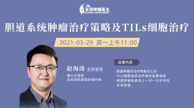 北京协和医院肝胆专家赵海涛教授:谈胆道系统肿瘤治疗策略及TILs细胞治疗