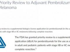 速递 派姆单抗适应症新增,用于黑色素瘤辅助治疗,已获FDA优先审查资格